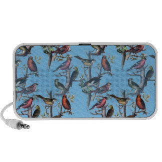Blue Vintage Art Birds pattern accessories LeahG Travelling Speaker