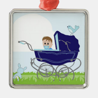 Blue vintage baby boy stroller metal ornament