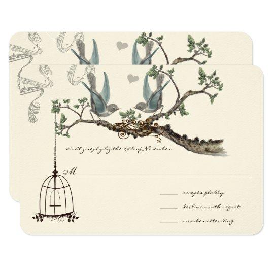 Blue Vintage Birds and Birdcage Weddings Card