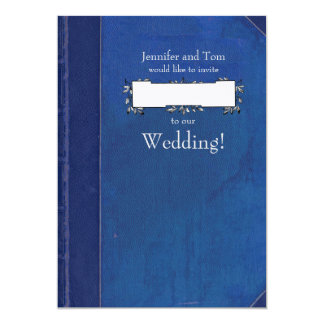 Blue Vintage Book and Bookplate Wedding Invitation