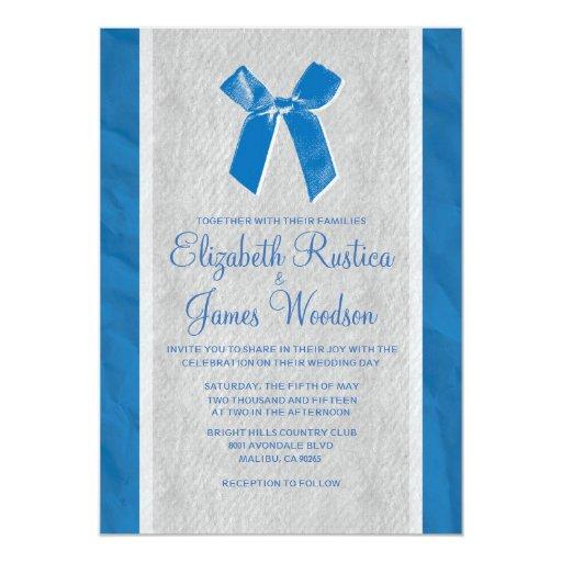 Blue Vintage Bow Amp Linen Wedding Invitations