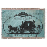 Blue Vintage Bride and Groom Horse and Buggy Throw