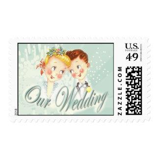 Blue Vintage Bride & Groom Wedding Postage Stamp