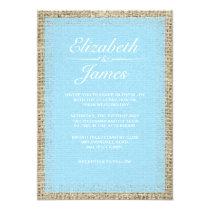 Blue Vintage Burlap Wedding Invitations