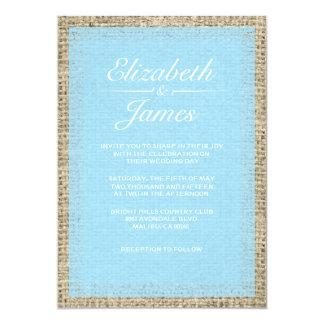 """Blue Vintage Burlap Wedding Invitations 5"""" X 7"""" Invitation Card"""