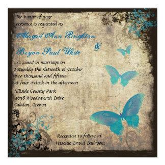Blue Vintage Butterfly Wedding Invitation