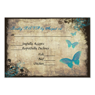 Blue Vintage Butterfly Wedding RSVP Card