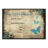 Blue Vintage Butterfly Wedding RSVP Card Custom Invitations (<em>$1.80</em>)