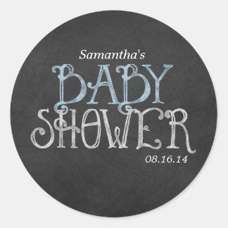 Blue Vintage Chalkboard Baby Shower Classic Round Sticker