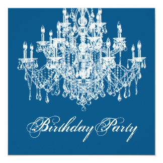 Blue Vintage Chandelier Womans 40th Birthday Party Card
