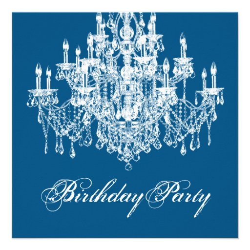 Blue Vintage Chandelier Womans 40th Birthday Party Custom Invitation