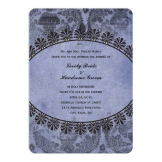 Blue Vintage Christian Cross Wedding Invitation