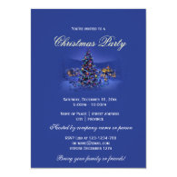 Blue vintage Christmas tree snowy night party Personalized   Announcement