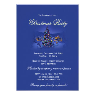 Blue vintage Christmas tree snowy night party Personalized Invite