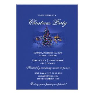 Blue vintage Christmas tree snowy night party Custom Invites