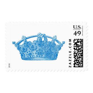 Blue Vintage Crown A009 Postage Stamp