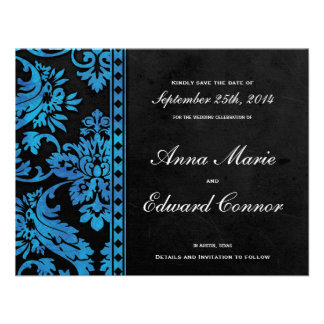 Blue Vintage Damask Lace Save the Date Custom Invitation