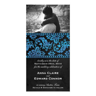 Blue Vintage Damask Lace Save the Date Photo Cards