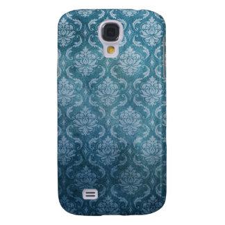 Blue Vintage Damask Samsung Galaxy S4 Cases