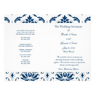 """Blue Vintage Damask Wedding Program 8.5"""" X 11"""" Flyer"""