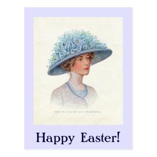 Blue Vintage Easter Bonnet Postcard