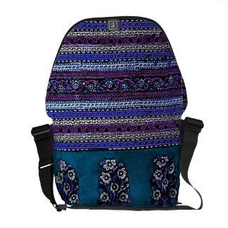 Blue Vintage Floral Messenger Bag