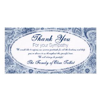 Blue Vintage Floral Pattern 2 Sympathy Thank You P Card
