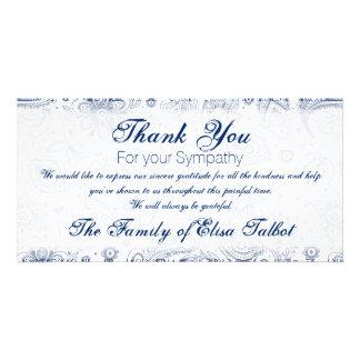 Blue Vintage Floral Pattern Sympathy Thank You P Card
