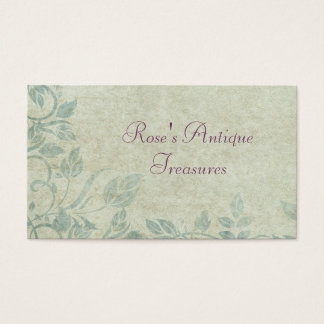 Blue Vintage Floral Vine Antique Store Business Card