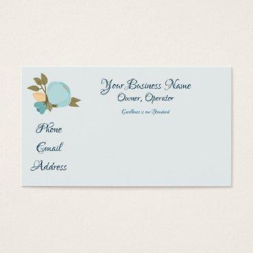 Professional Business Blue Vintage Flower Business Card