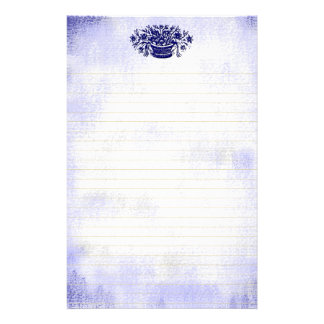 Blue Vintage Flower Faux Canvas Lined Stationery