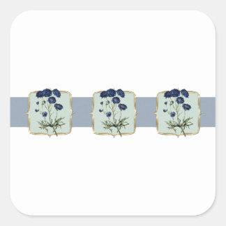 Blue Vintage Flowers Wide Square Sticker