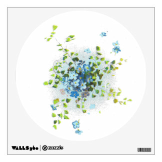 Blue Vintage Forget-Me-Nots Wall Sticker
