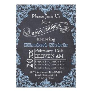 Blue vintage frame and chalkboard baby shower card
