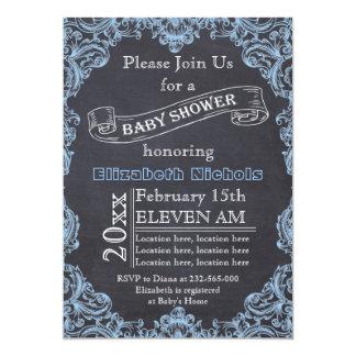 "Blue vintage frame and chalkboard baby shower 5"" x 7"" invitation card"