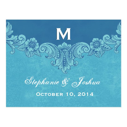 Blue Vintage Frame Custom Monogram Wedding Postcard
