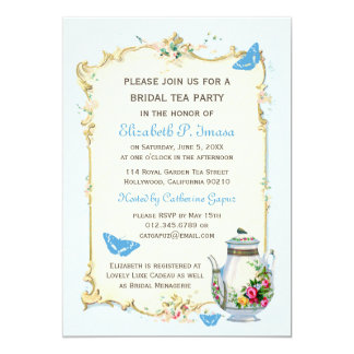 Blue Vintage French Bridal Tea Party Card