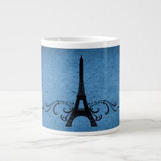 Blue Vintage French Flourish Giant Coffee Mug