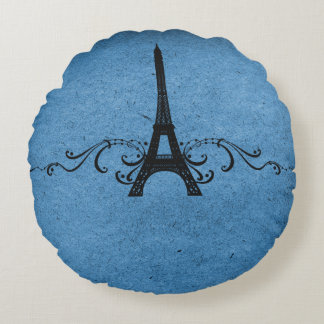 Blue Vintage French Flourish Round Pillow