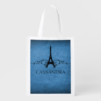 Blue Vintage French Flourish Grocery Bag