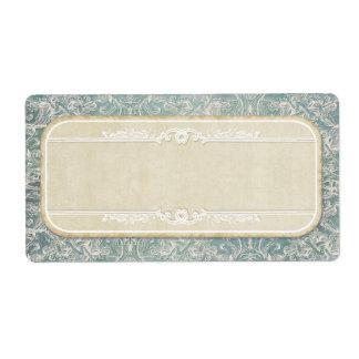 Blue Vintage French Regency Lace Etched Wedding Label