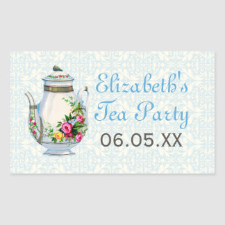 Blue Vintage French Tea Party Favor Stickers