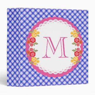 Blue vintage gingham flower monogram binder