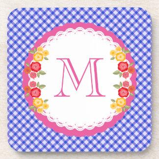 Blue vintage gingham flower monogram coaster