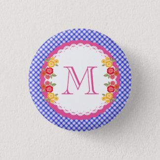 Blue vintage gingham flower monogram pinback button