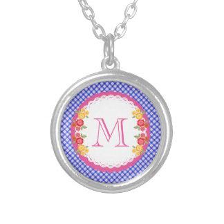 Blue vintage gingham flower monogram silver plated necklace