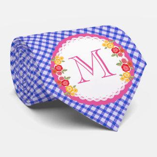 Blue vintage gingham flower monogram woman neck tie