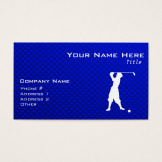 Blue Vintage Golfer Business Card