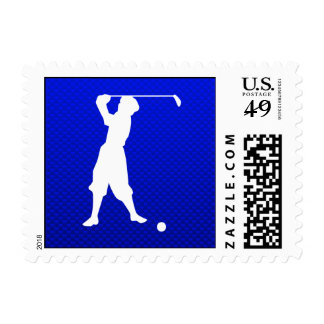 Blue Vintage Golfer Postage Stamp