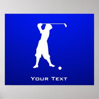 Blue Vintage Golfer Poster